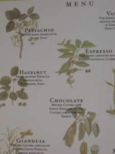 a glimpse of the menu- check out the ingredients