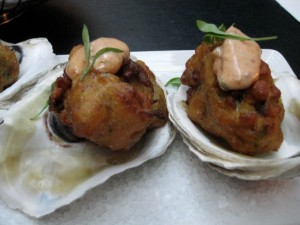 oyster and bacon hushpuppies