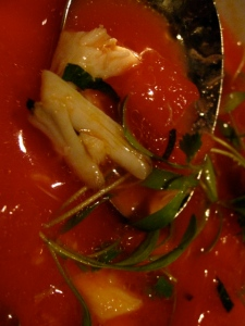 chilled watermelon soup with lump crabmeat