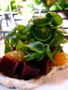 sweet beets and oranges with baby lettuces over a smooth herbed goat cheese