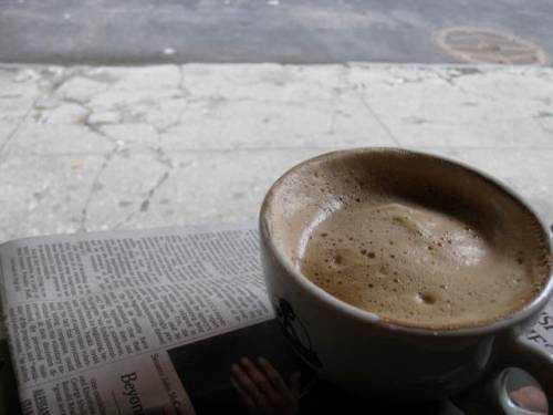 While waiting for Shorty's to open, I enjoyed a big, steaming cappucino and the Times at a little cafe down the street.