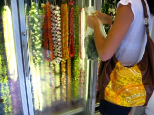 fresh leis at a local market in Honolulu