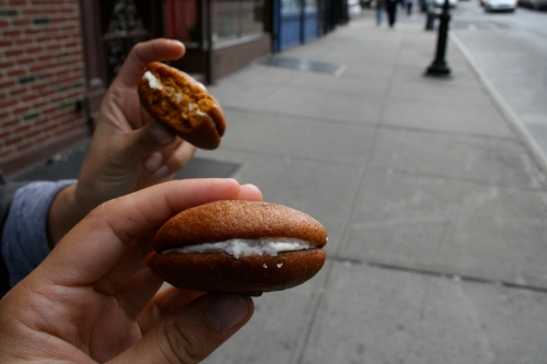 One Girl Bakery whoopie pies, eaten on the street in Brooklyn