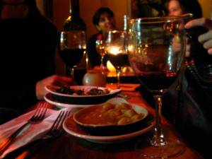 Tapas and Rioja at one of the tiny tables