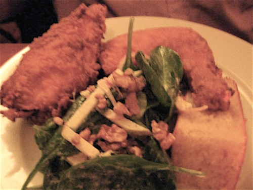 Fried Chicken with a great salad and corn bread at the Redhead