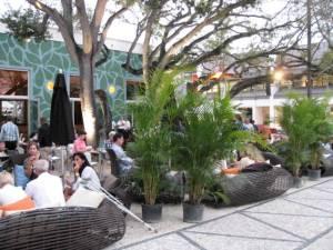 An open air restaurant in Miami's Design District