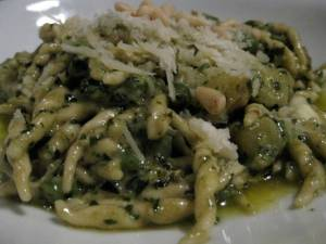 """""""Troffie alla Genovese"""" or spiral pasta with pesto, tiny green beans, and potatoes"""