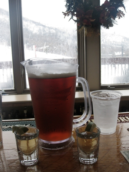 A $14 pitcher of Utah's own Scorpion Ale and a couple of tequila shots to take the edge off after a day of riding Park City