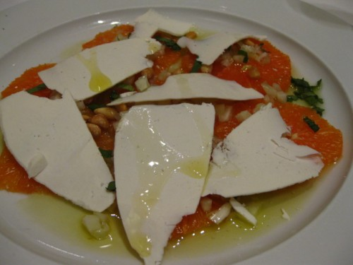 Sliced Cara Cara Orange with Fennel Vinaigrette, Toasted Pine Nuts, Ricotta Salata and Mint $13