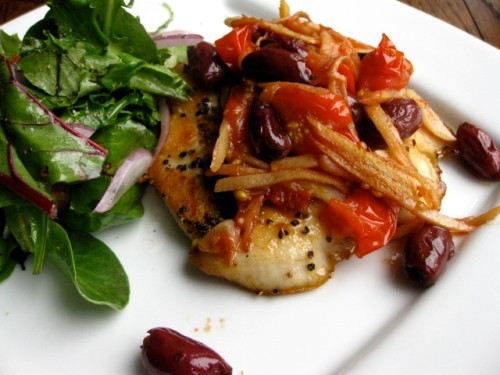 seared halibut with olives, tomatoes and surprisingly, ginger