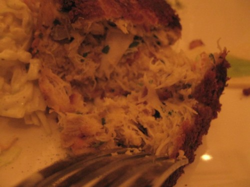 a meaty, yummy crabcake