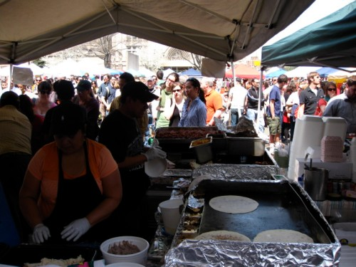 Tortillas heating up Brooklyn Flea; the crowds that eagerly await them.
