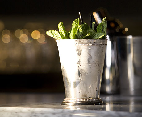 A proper mint julep is served in this cup