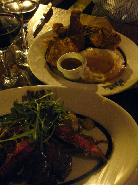 Cajun spiced steak with fingerling potatoes and fried chicken