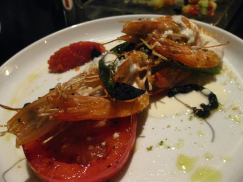 prawns, tomato, feta