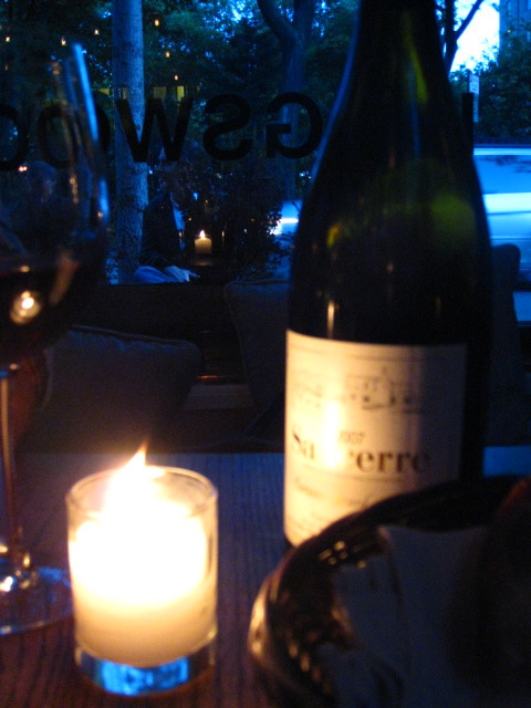 Red Sancerre by the window at Kingswood, overlooking W. 10th St.