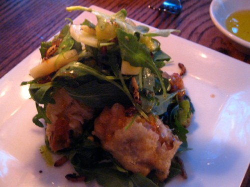 Soft Shell Crab, with arugula, pineapple, crispies and citrus sauce
