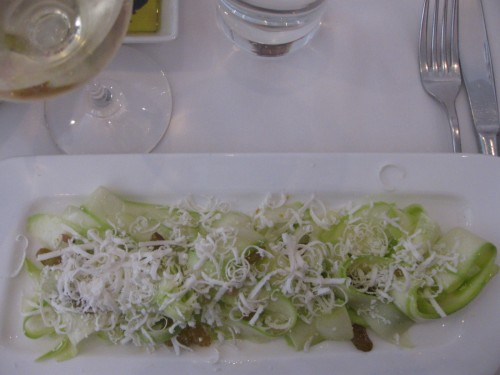 Shaved Zucchini Salad with a Glass of Gavi
