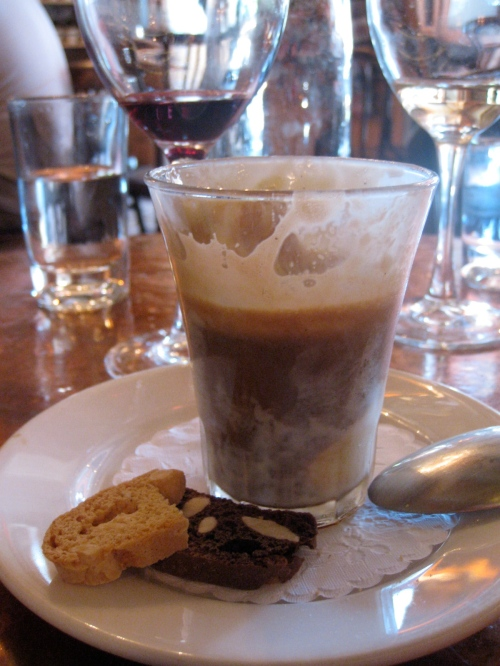 Affogato, the simplest dessert on earth: vanilla gelato, espresso, biscotti