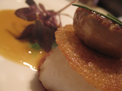 "scallop ""sandwich"" with crispy brioche and passionfruit"