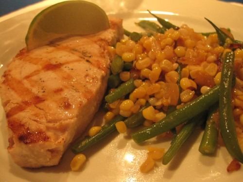 Grilled Harpoon Swordfish, Sweet Corn, Green Beans and Onions.