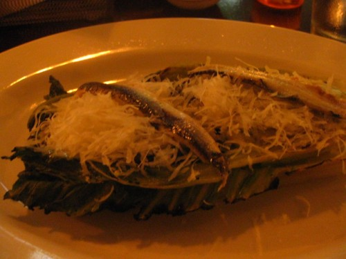 Grilled Romaine Salad with Parmesan, Anchovy and Lemon Dressing