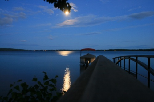 Moon rising over Lake Sebago, Maine