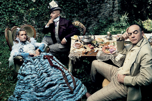 Alice enjoying a picnic, as envisioned by Vogue.