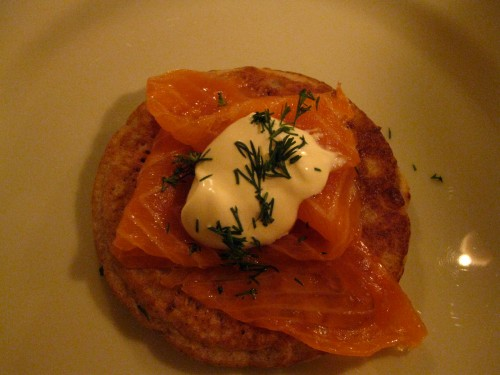 blinis with good smoked salmon, creme fraiche, and dill