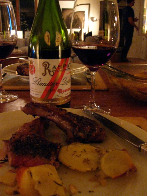 Lamb Chops, Roast Potatoes, Red Wine